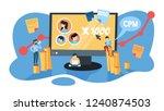 cpm concept. cost per mille.... | Shutterstock .eps vector #1240874503