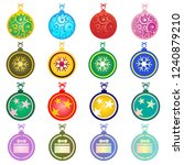 colorful christmas balls on... | Shutterstock .eps vector #1240879210