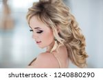 beautiful young woman at... | Shutterstock . vector #1240880290