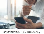business man using smart mobile ... | Shutterstock . vector #1240880719