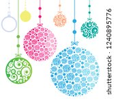 christmas ornament balls on... | Shutterstock . vector #1240895776