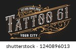 tattoo logo. old lettering on... | Shutterstock .eps vector #1240896013