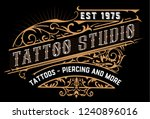 tattoo logo. old lettering on... | Shutterstock .eps vector #1240896016