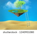 oasis with water and tree in... | Shutterstock . vector #1240901080