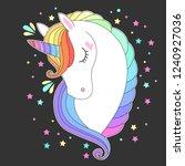 unicorn head with rainbow hair. ...   Shutterstock .eps vector #1240927036