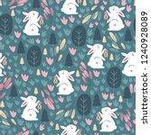Stock vector seamless pattern with cute rabbit childish print vector illustrations 1240928089