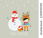 merry christmas greeting card... | Shutterstock .eps vector #1240935550
