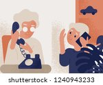 cute smiling old lady talking... | Shutterstock .eps vector #1240943233