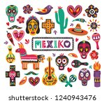 set of national mexican symbols ... | Shutterstock .eps vector #1240943476