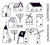 decorative black and white town ... | Shutterstock .eps vector #1240948633