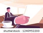businessman reading news in... | Shutterstock .eps vector #1240952203