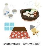 tofu hot pot and kotatsu set ... | Shutterstock .eps vector #1240958500