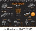 fast food menu. sketch sandwich ... | Shutterstock .eps vector #1240969519