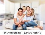 beautiful smiling lovely family ... | Shutterstock . vector #1240978543
