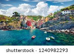 sunny summer view of ... | Shutterstock . vector #1240982293