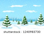 winter landscape with white... | Shutterstock .eps vector #1240983730