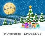 christmas background. tree gift ... | Shutterstock .eps vector #1240983733