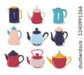 cartoon kettle set. teapot with ... | Shutterstock .eps vector #1240991266