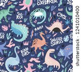 cute dinosaurs hand drawn color ... | Shutterstock .eps vector #1241010400