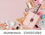 flat lay of female fashion... | Shutterstock . vector #1241011063