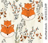 Stock vector seamless pattern vector fox mom and baby 1241011249