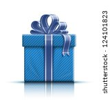 blue gift box with ribbon and... | Shutterstock .eps vector #124101823