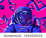 angry monkey head in spacesuit. ... | Shutterstock .eps vector #1241020123