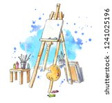 watercolor easel at the studio  ... | Shutterstock . vector #1241025196