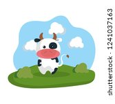 cute cow in the camp | Shutterstock .eps vector #1241037163