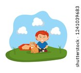 cute cat and boy with sandbox | Shutterstock .eps vector #1241039683
