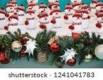snowmen and christmas decoration | Shutterstock . vector #1241041783