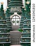 christmas trees and door | Shutterstock . vector #1241041810