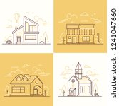town architecture   set of thin ... | Shutterstock .eps vector #1241047660