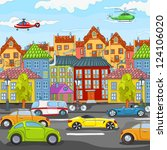 city cartoon with traffic....   Shutterstock .eps vector #124106020