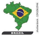 brazil map and flag  vector | Shutterstock .eps vector #1241061946
