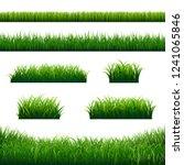 green grass borders big set   | Shutterstock . vector #1241065846