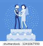 wedding rich iced cake with... | Shutterstock .eps vector #1241067550