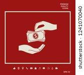 receiving money banknotes stack ... | Shutterstock .eps vector #1241070040