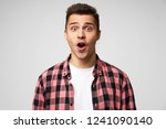 surprised male  keeps mouth... | Shutterstock . vector #1241090140