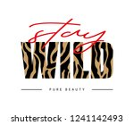Stock vector decorative stay wild text with zebra skin pattern 1241142493