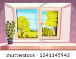 window overlooking sunny park... | Shutterstock .eps vector #1241145943