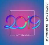 purple happy new year 2019 card ... | Shutterstock .eps vector #1241146210
