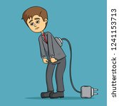 tired business man low battery... | Shutterstock .eps vector #1241153713