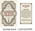 vintage wine label with floral... | Shutterstock .eps vector #1241161930