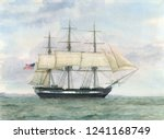 tall ship watercolor painting ... | Shutterstock . vector #1241168749