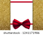 glitter card with bow and blank ... | Shutterstock .eps vector #1241171986