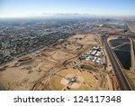 Construction on Major League Baseball Spring Training Facility from above - stock photo