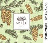 background with spruce  branch... | Shutterstock .eps vector #1241175670
