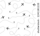 airplane routes with dotted... | Shutterstock .eps vector #1241181133