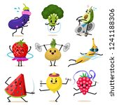 sports fruit characters. set of ... | Shutterstock .eps vector #1241188306